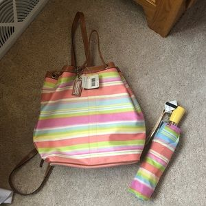 Coach Backpack Bag with Umbrella Matching Set
